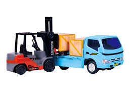 100 Toy Forklift Truck Friction Powered Play Set Vehicle W 2 Cargo Box