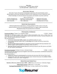 Sample Resume Format For Banking Sector Freshers Investment Professional Examples