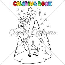 Coloring Book Christmas Reindeer 2 Vector Ill