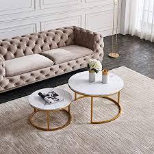nyyi couchtisch 2er set beistelltisch set rund moderne sofatische minimalistisch couchtische mit goldene metallbeine tischkombination fürs