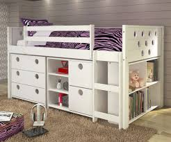 Twin Size Circles Low Loft Bed in White Finish 780ATWX
