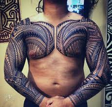 Both Arms Mens Samoan Sleeve And Chest Tribal Tattoos