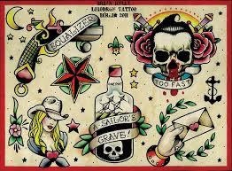 Sailor Jerry Bottle Tattoo Flash 700x946