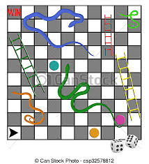 Snakes And Ladders Family Board Game With Dice Risk Etc Winners Losers Stock Illustration
