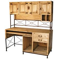 Rustic Pine And Wrought Iron Computer Desk With Upper Hutch