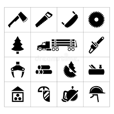 Download Set Icons Of Sawmill Timber Lumber And Woodworking Stock Vector