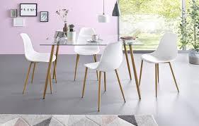 my home essgruppe miller set 5 tlg eckiger glastisch mit 4 stühlen kunststoffschale kaufen otto