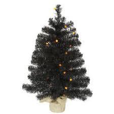 Vickerman 30 Prelit Black Artificial Christmas Tree With Orange LED Lights