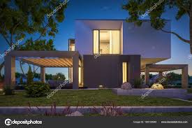 100 Modernhouse 3d Rendering Of Modern House In The Garden At Night Stock Photo