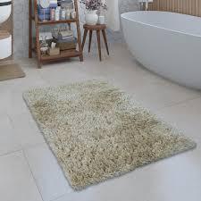 moderne badematte badezimmer teppich shaggy kuschelig weich einfarbig beige grösse 70x120 cm