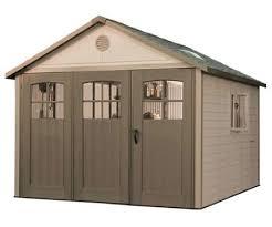lifetime 11x18 plastic storage shed w wide doors 60236
