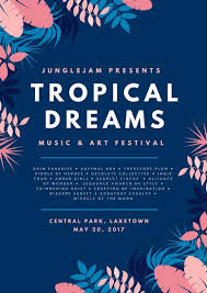 Pink And Blue Tropical Jungle Music Festival Poster