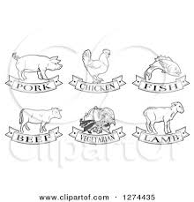 Clipart of Black and White Pork Chicken Fish Beef Ve arian and Lamb Animal and Food Designs Royalty Free Vector Illustration by AtStockIllustration