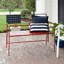 Kirklands Outdoor Patio Furniture by American Flag Metal Bench Kirklands