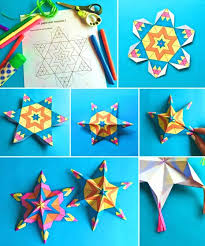 Easy Assemble Mexican Paper Star Ornamets Craft Printable Color In Activities