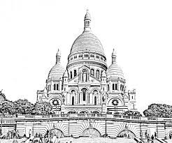 The Basilica Of Sacred Heart In Paris Transformed Into A Beautiful Coloring Page