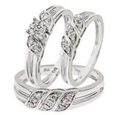 Simple and Elegant 1 2 Carat Diamond Trio Wedding Ring Set 10K White