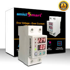 100 Auto Re AmiciSmart Matic OverUnder Voltage Adjustable Setting Protection With Connect LED Display Standard DinRail Mounted Single Phase 220V