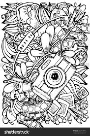Vector Hand Drawn Pattern Anti Stress Coloring Book Page For Adult Photo Camera