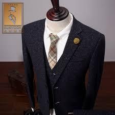 Vintage Thick Christmas Tweed Suit Men Slim Fit Grey Tuxedo Wedding Groom Herren Anzug Terno Mens 3 Piece Suits