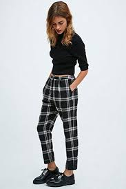 Cooperative By Urban Outfitters Skinny Check Trousers In Black