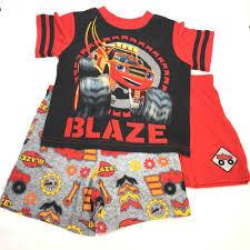 100 Monster Truck Pajamas Blaze Size 2T 4T Boys 3 Piece Pajama Set Blaze Machines Red