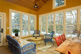 Indoor Sunroom Furniture Farmhouse With Wood Paneling Ceiling