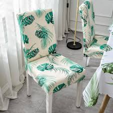 Treeone 4 Pcs Removable Washable Dining Room Chair Covers With Printed  Pattern,Soft Spandex Super Fit Stretch Chair Slipcovers