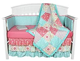 Teal And Coral Baby Bedding by Amazon Com Gia Floral Coral Blue 8 In 1 Baby Crib Bedding