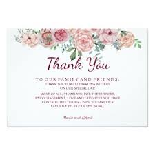 Rustic Vintage Pink Floral Wedding Thank You Card