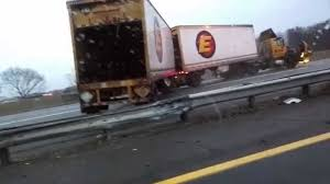 100 Ups Truck Accident 11815 NJ Turnpike I95 Crash Black Ice Trailer Flip YouTube