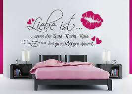 details zu wandspruch liebe ist gute nacht kuss schlafzimmer wandaufkleber wandtattoo