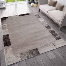 wohnzimmer kurzflor teppich mit karierter umrandung designer bordüre in beige grau