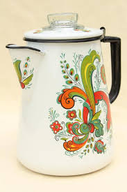 Vintage Enamelware Coffee Pot Berggren Swedish Folk Art Green Red Rosemaling Design