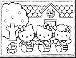 Awesome Girls Hello Kitty Coloring Pages With Color And