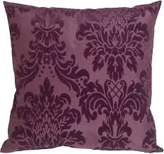 Flocked Velvet Damask Purple Throw Pillow from Pillow Decor