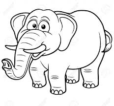 Cartoon Drawings Elephants Vector Illustration Of Elephant Coloring Book Royalty