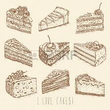 Set of cakes in doodle vintage style Hand drawn vector illustration