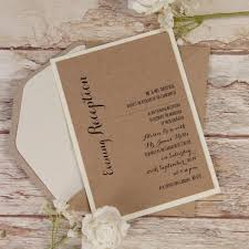Kraft Paper White Flower Rustic Wedding Evening Invitation
