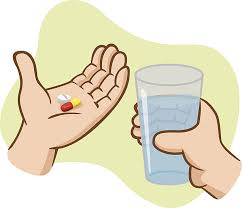 Aid First take medicine with water vector art illustration 1181