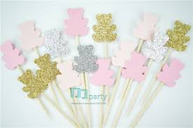 40pcs Teddy Bear Cupcake ToppersGender Neutral Baby Shower Decoration Kids Party Favors