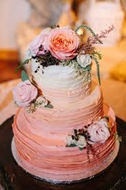 3 Tier Pink Ombre Wedding Cake With Flowers And Mixed Greenery Topper Petal Pushers