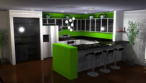 Green Kitchen Ideas Home Design And Black Tiles Wall Decor Full Size