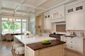 Sweet Traditional Kitchen Butcher Block Countertops Collection Of Shaker Style With Range Hood And White Coffered Ceiling