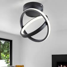 led deckenleuchte ring design schwarz matt d 28 cm