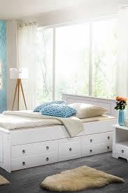 landhaus schubkastenbett sadanos in weiß aus kiefer