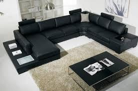 canapé d angle en cuir italien 8 places almera avec tétières noir