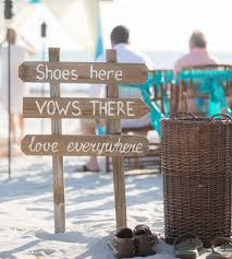 Beach Wedding Rustic Decor Shoes Here Vows There Love Everywhere Wood Signage For Wooden Arrow Gift Sign