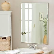 Bathroom Tilt Mirror Hardware by House Compact Beveled Mirror Bathroom Sherise Brushed Nickel