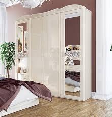 kleiderschrank schrank spiegel schlafzimmerschrank 206cm creme hochglanz